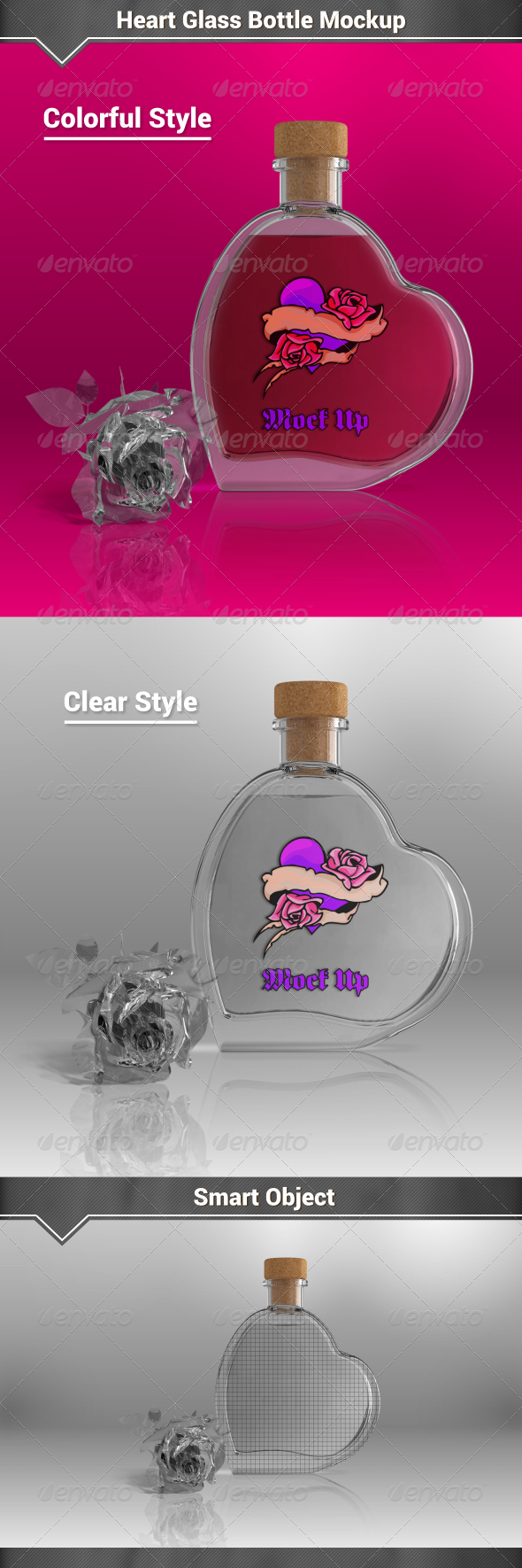 GraphicRiver Heart Glass Bottle Mockup 8143167