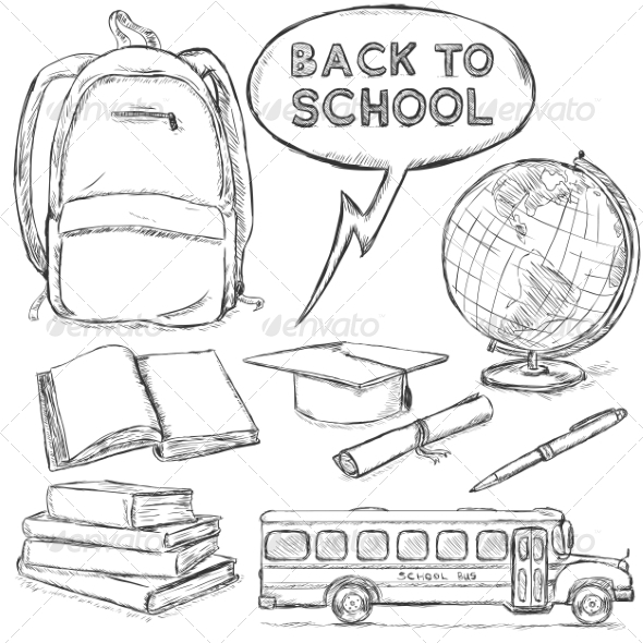 GraphicRiver Vector Set of Sketch Education Objects 8143260