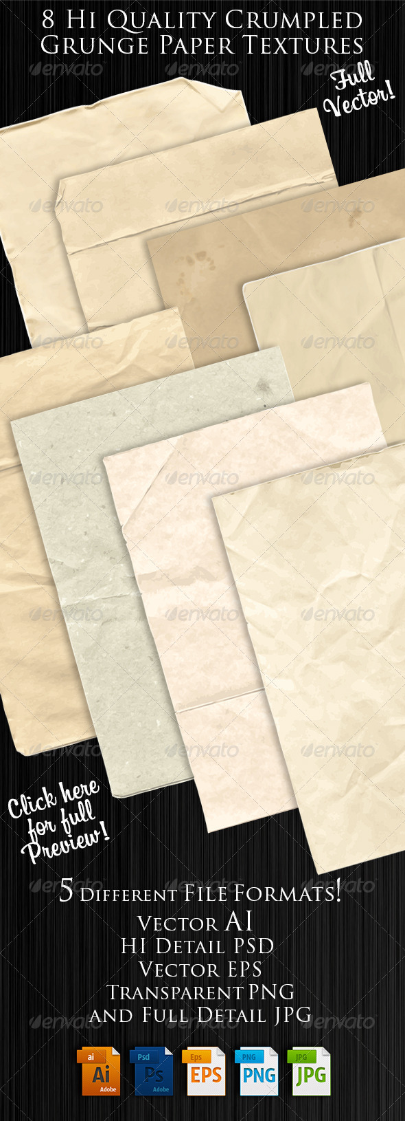 GraphicRiver Vector Crumpled Paper Textures 8132296