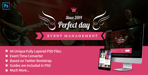 ThemeForest Event Management One Page PSD Perfect Day 8143634
