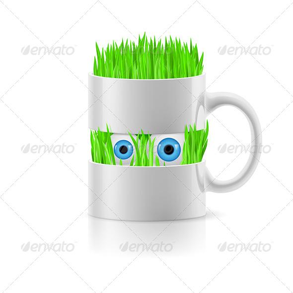 GraphicRiver Cartoon Mug with Grass 8143642
