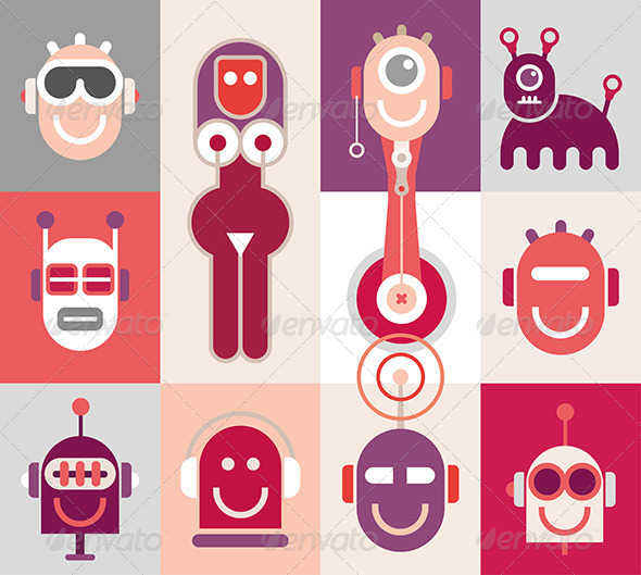 GraphicRiver Robot Heads 8144418