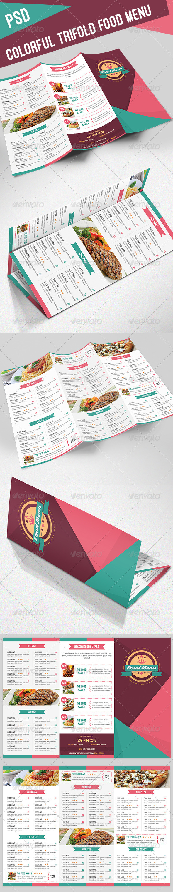 GraphicRiver Colorful Trifold Food Menu 8144768