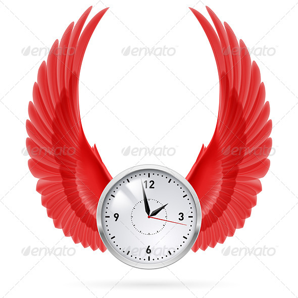 GraphicRiver Clock Red Wings 8145351