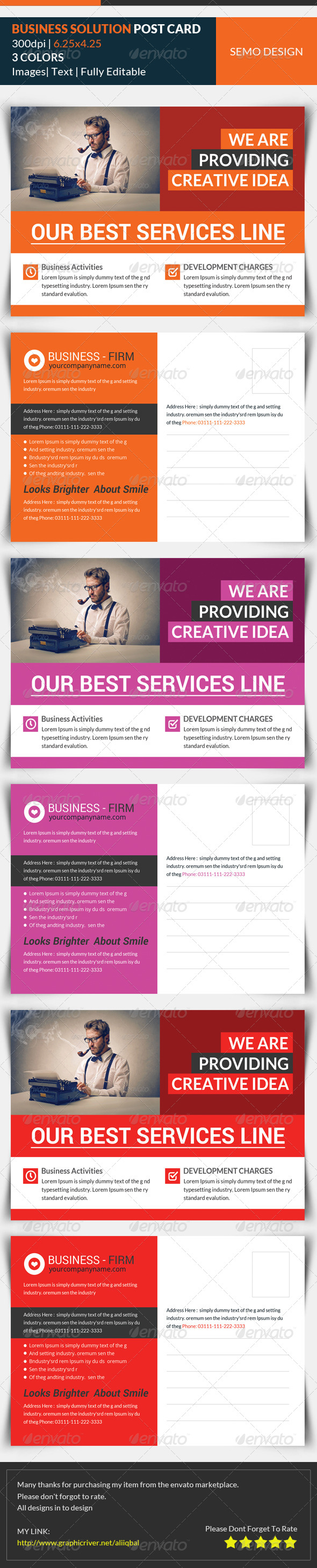 GraphicRiver Business Solution Postcard Template 8145654
