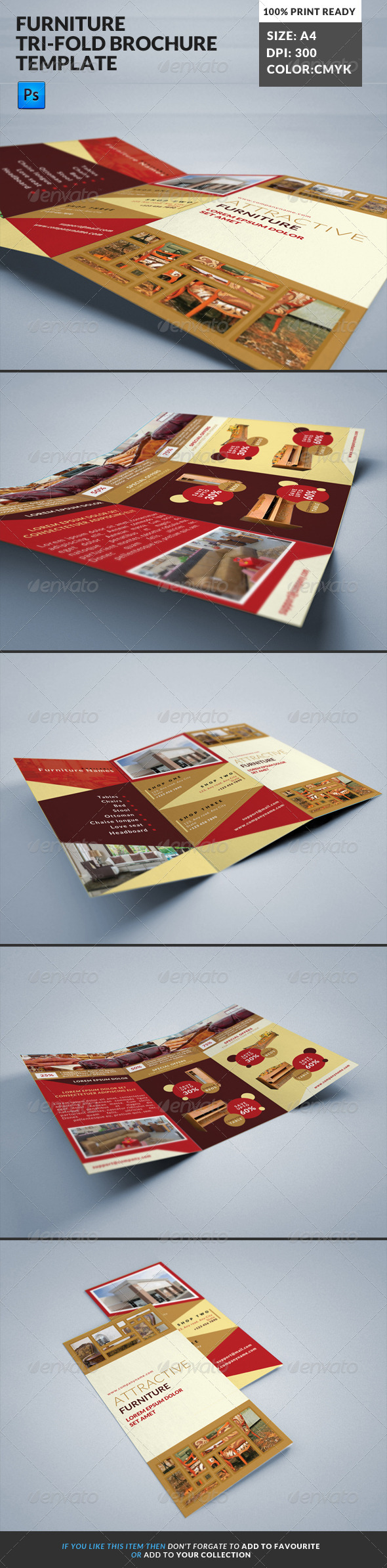 GraphicRiver Furniture Store Tri-Fold Brochure Template 8145889