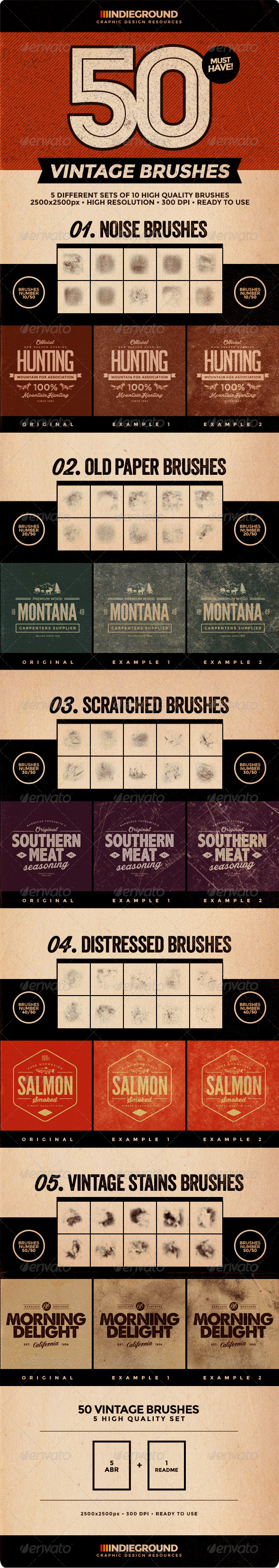 GraphicRiver 50 Vintage Brushes Set 8146217