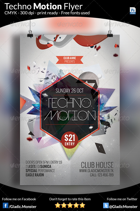 GraphicRiver Techno Motion Futuristic Flyer 8146224