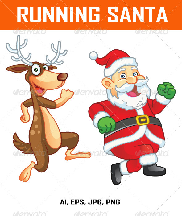 GraphicRiver Running Santa and Reindeer 8146422