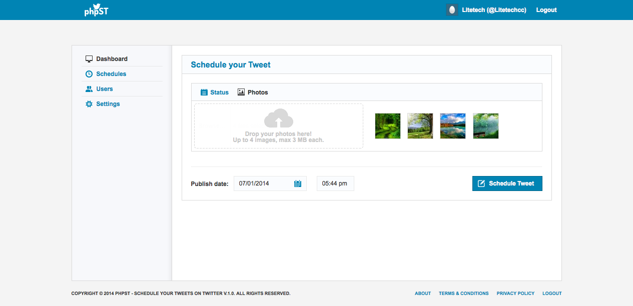 phpST - Schedule your Tweets on Twitter 1.0