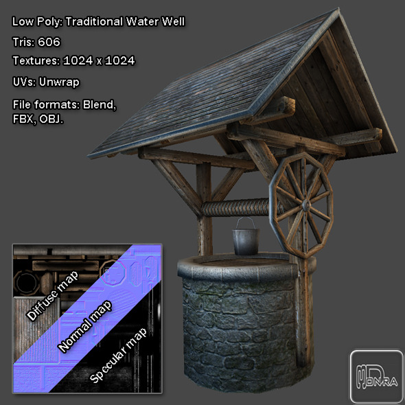 3DOcean Low Poly Traditional Water Well 8147959
