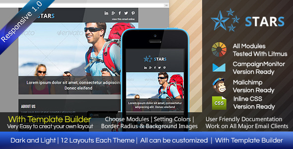 ThemeForest STARS Responsive Email Template With Builder 8148671