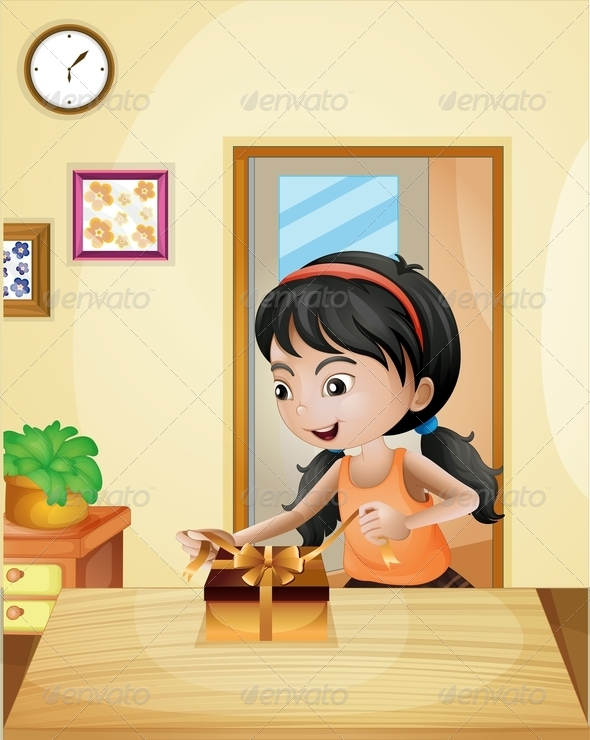 GraphicRiver Girl with Gift at the Table 8150996