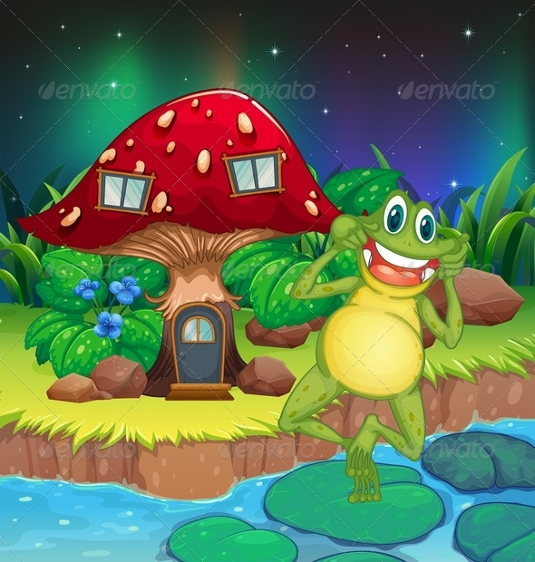 GraphicRiver Frog Near Mushroom House 8151014