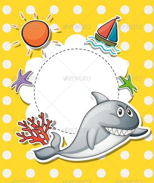 GraphicRiver Stationery With Big Grey Shark 8151027