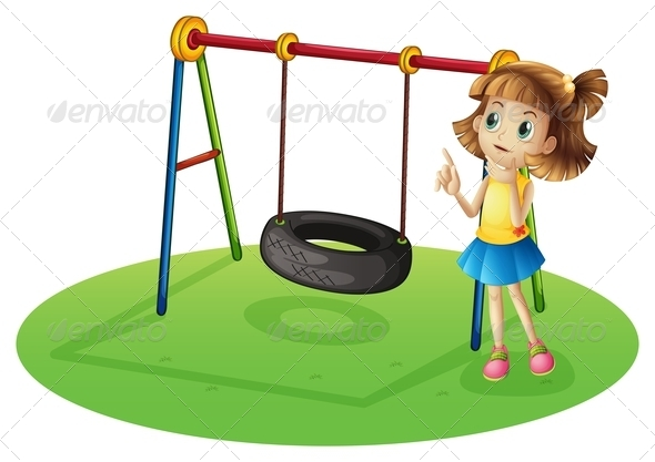 Girl With Tire Swing