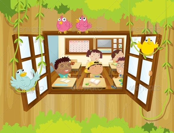 GraphicRiver Students in Classroom With Birds at the Window 8151068