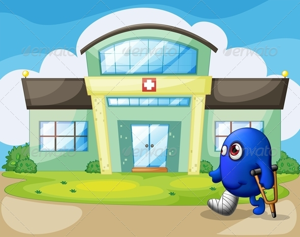 GraphicRiver Injured Monster Outside the Hospital 8151072
