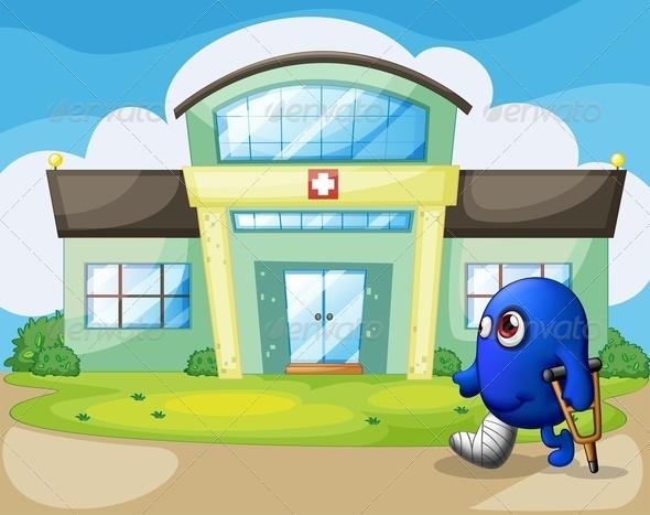 GraphicRiver Injured Monster Outside the Hospital 8151072