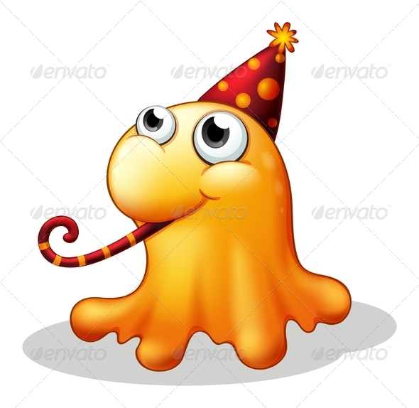 GraphicRiver Monster Wearing a Party Hat 8151073
