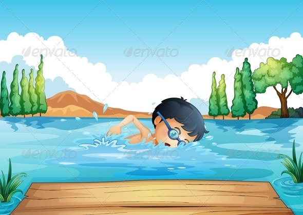 GraphicRiver Boy Swimming in the Lake 8151074