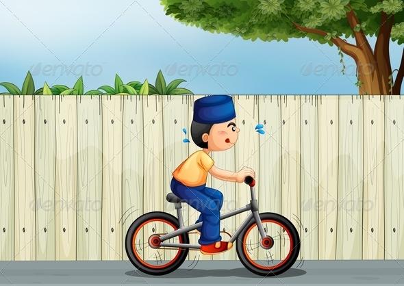 GraphicRiver Tired Boy Biking 8151076