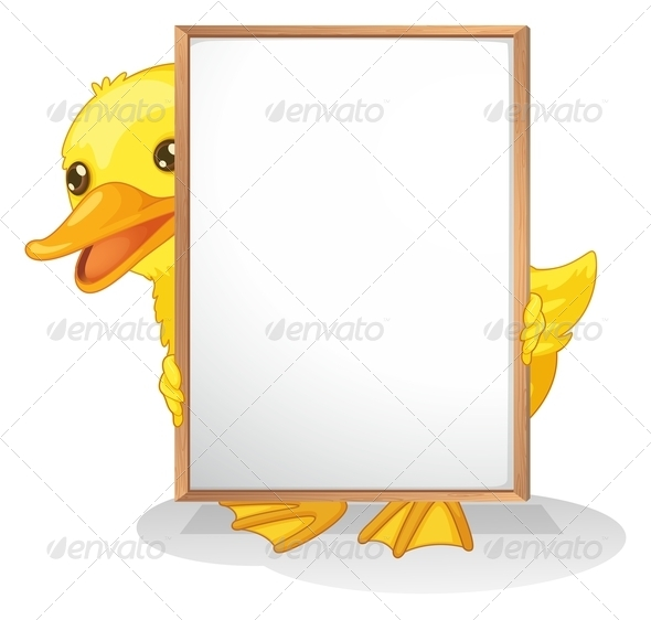 GraphicRiver Duck Hiding Behind an Empty Sign 8151077