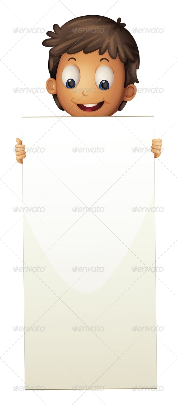 GraphicRiver Boy Standing with Empty Sign 8151082