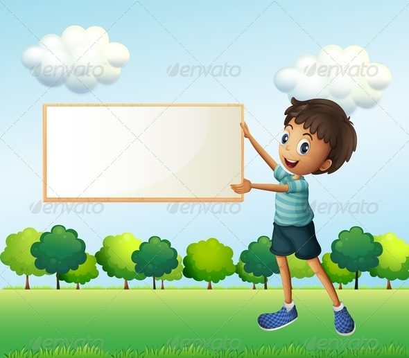GraphicRiver Boy Holding Empty Sign in the Park 8151085