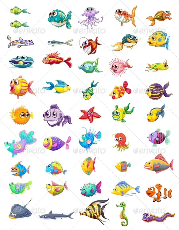 GraphicRiver Group of different Fishes 8151238