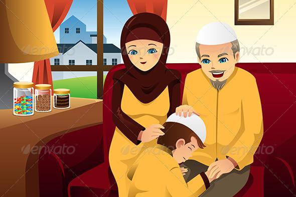 GraphicRiver Family Celebrating Eid-Al-fitr 8151243