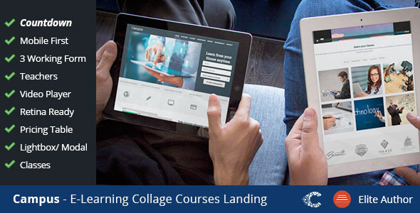 Campus Education eCourse sign-up Landing - Corporate Landing Pages