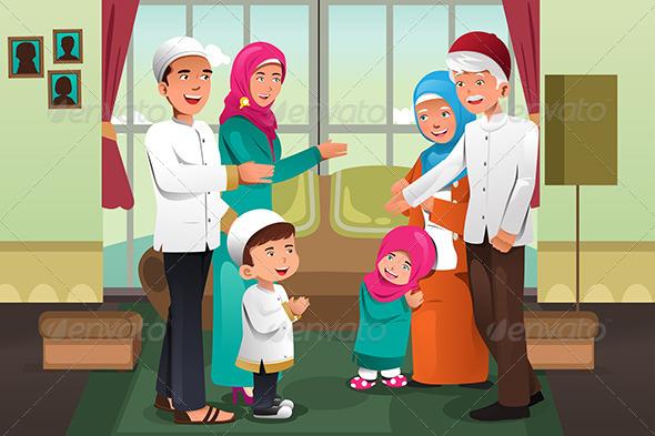 GraphicRiver Family Celebrating Eid-Al-fitr 8151760