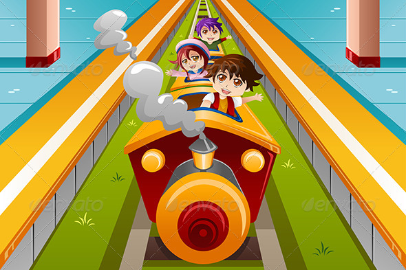 GraphicRiver Kids riding a Train 8152069