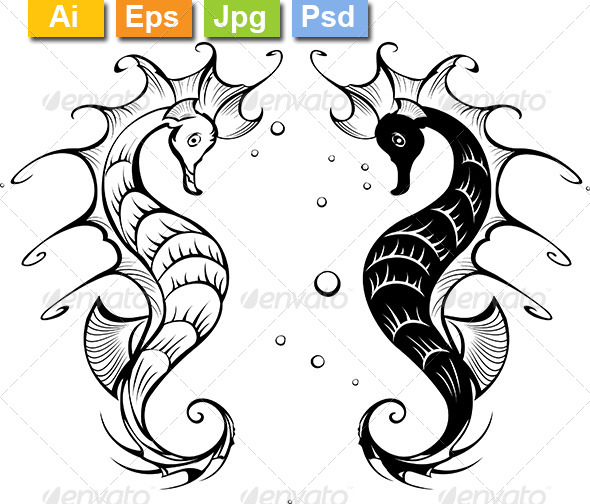 GraphicRiver Silhouettes of Seahorses 8152267