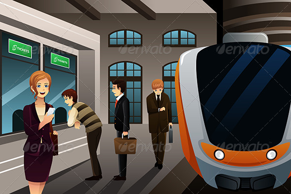 GraphicRiver People Buying Train Ticket 8152269