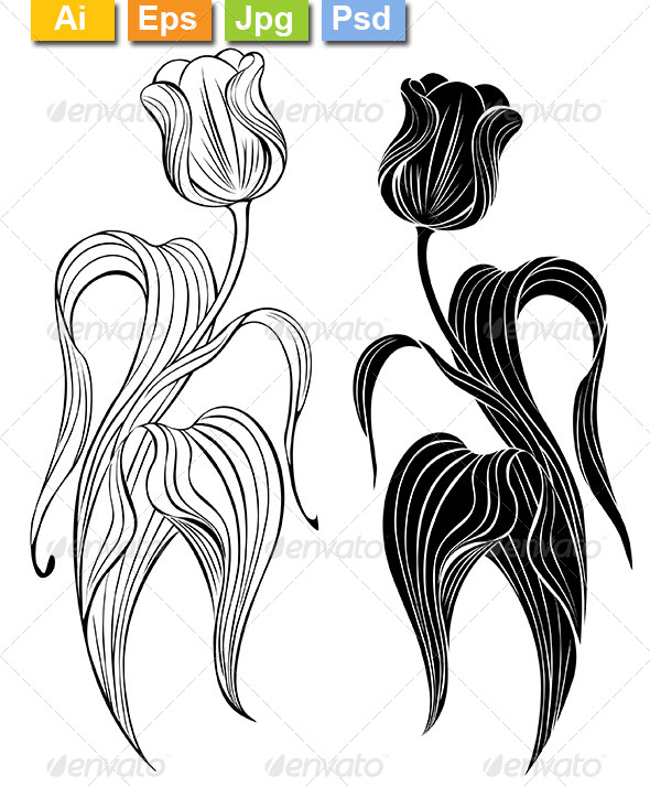 GraphicRiver Silhouette of Two Tulips 8152285