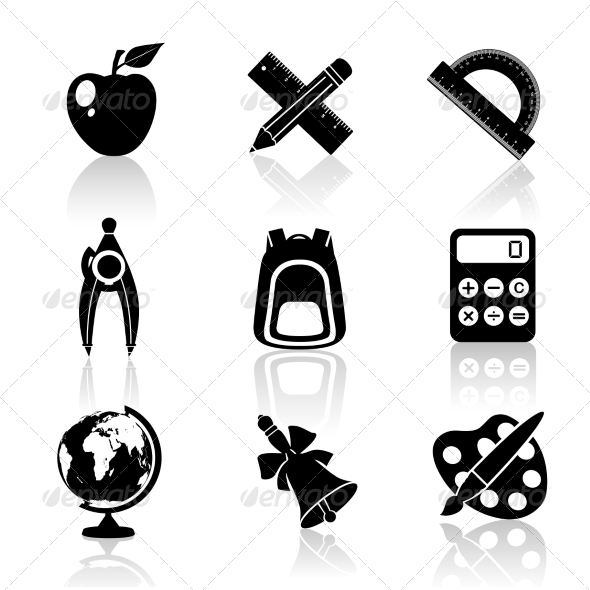 GraphicRiver Black School Icons Set 8152309