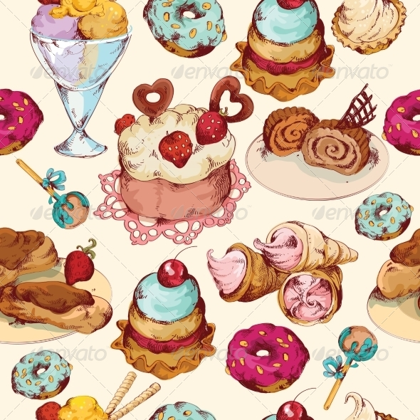 GraphicRiver Sweets Sketch Colored Seamless Pattern 8152323