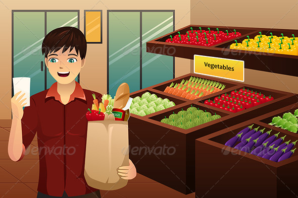 GraphicRiver Man Shopping at the Grocery 8152326