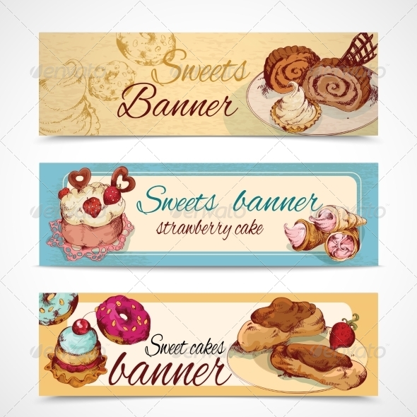 GraphicRiver Sweets Colored Banners 8152329