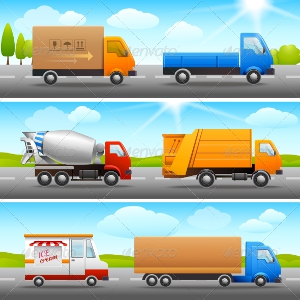 GraphicRiver Realistic Truck Icons on Road 8152569