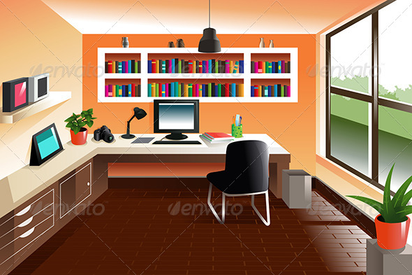 GraphicRiver Modern Looking Workspace Desk 8152777