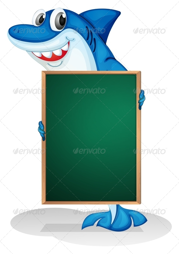 GraphicRiver A Shark Holding an Empty Board 8152828