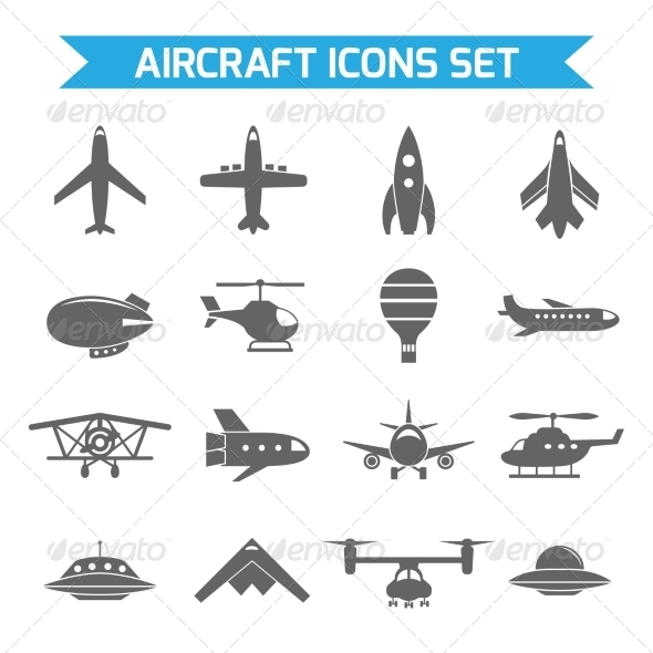 GraphicRiver Aircraft Icons Flat 8152966