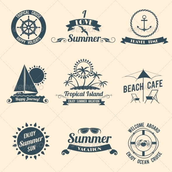 GraphicRiver Summer Sea Emblems Black 8153196