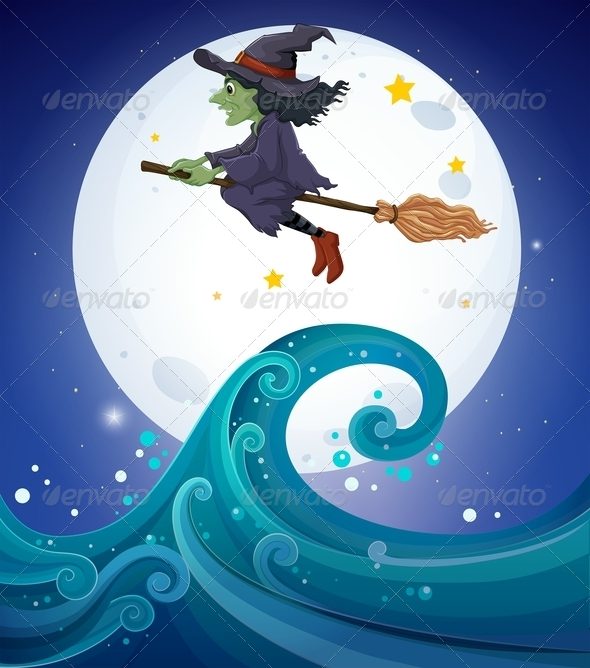 GraphicRiver Witch flying above Sea 8153273