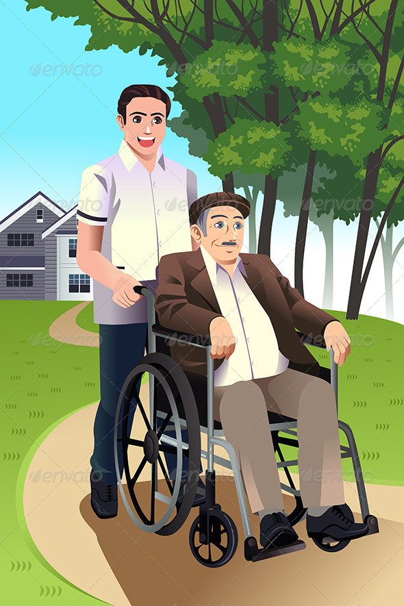 GraphicRiver Man Pushing a Senior Man in a Wheelchair 8153998
