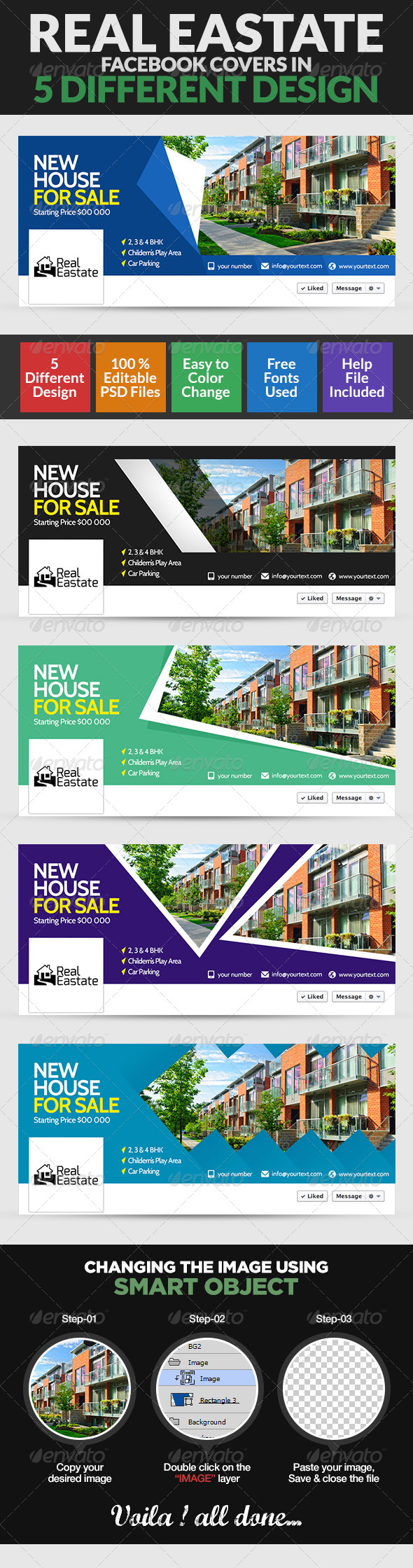 GraphicRiver Real Estate Facebook Cover Page 5 Designs 8154422