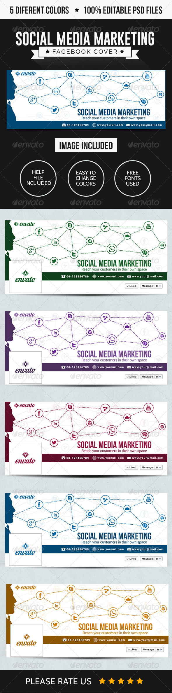 GraphicRiver Social Media Marketing Facebook Covers 8154428